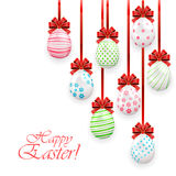 Easter eggs with red bow Stock Photography