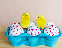 Easter eggs with red dots Stock Photo