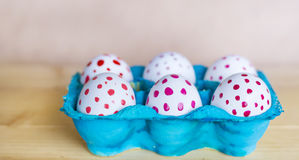 Easter eggs with red dots Stock Image