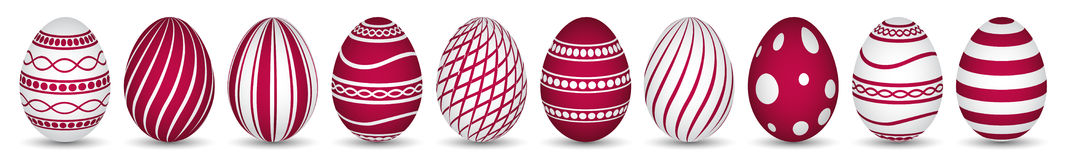 10 easter eggs in red Stock Photo