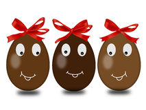 3 Easter eggs with red ribbons Royalty Free Stock Image
