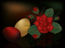 Easter eggs with red rose Stock Photography