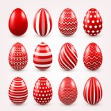 Easter eggs red set. Spring Holidays in April. Seasonal celebration.Egg hunt. Sunday. Easter eggs red set. Spring Holidays in April. Seasonal celebration.Egg vector illustration