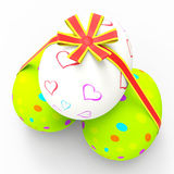 Easter Eggs Represents Gift Ribbon And Bow. Easter Eggs Showing Bow Backdrop And Backgrounds royalty free illustration