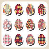 Easter eggs retro pattern set Stock Images