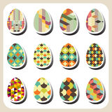 Easter eggs retro pattern set Royalty Free Stock Photos