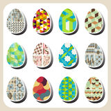 Easter eggs retro pattern set Stock Photos