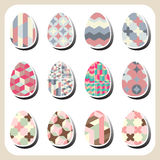 Easter eggs retro pattern set Stock Image