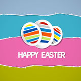 Easter Eggs on Retro Torn Paper Background Royalty Free Stock Photography