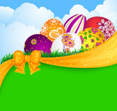 Easter eggs and ribbon Stock Images