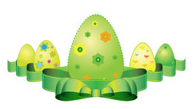 Easter eggs and ribbon Royalty Free Stock Photography