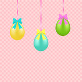 Easter eggs on a ribbon Stock Images