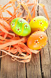 Easter eggs and ribbon decoration Royalty Free Stock Image
