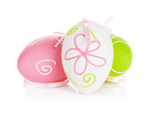 Easter eggs with ribbon Royalty Free Stock Photos