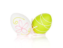 Easter eggs with ribbon Stock Photography