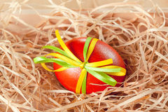 Easter eggs with ribbon Stock Photo