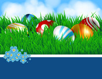 Easter eggs and ribbon Royalty Free Stock Photos