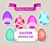 Easter eggs and ribbon stickers set. Stock Photo