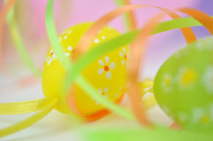 Easter Eggs and Ribbons Stock Images