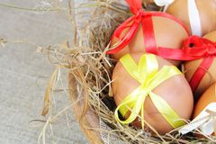 Easter Eggs with Ribbons in Grass Nest Stock Image