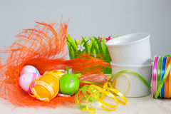 Easter eggs and ribbons Royalty Free Stock Photos
