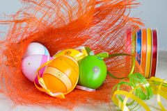 Easter eggs and ribbons Stock Photos