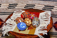 Easter eggs in Romania. Close up of various traditional painted Easter eggs in Romania Stock Photography