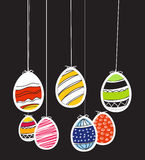 Easter eggs on rope Royalty Free Stock Images