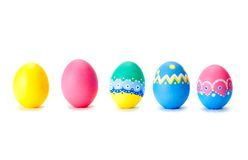 Easter eggs in a row Royalty Free Stock Images