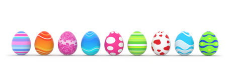 Easter eggs in row Stock Photos