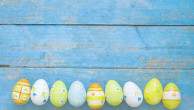 Easter eggs in a row. Design template, free copy space Royalty Free Stock Image
