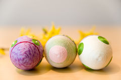 Easter eggs in row. Easter egg with geometric patterns in row Royalty Free Stock Photo
