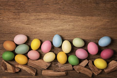 Easter eggs in a row Stock Photography