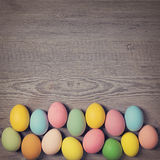 Easter eggs in a row Stock Images