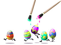 Easter eggs run Stock Photos