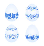 Easter eggs with russian national ornament in gzhel style Royalty Free Stock Image