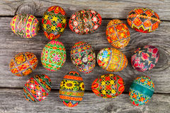 Easter eggs on rusted board. Easter eggs on rusted old board background Royalty Free Stock Photography