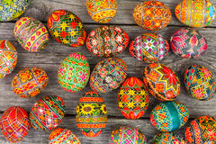 Easter eggs on rusted board. Easter eggs on rusted old board background Royalty Free Stock Photos