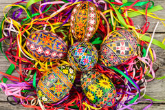 Easter eggs on the rusted board. Still life close up Royalty Free Stock Photography
