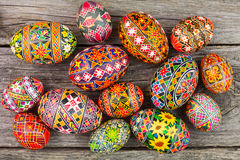 Easter eggs on the rusted board. Still life close up Royalty Free Stock Photo