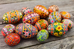 Easter eggs on the rusted board. Still life close up Stock Photography