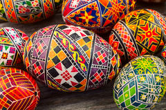 Easter eggs on the rusted board. Still life close up Stock Image