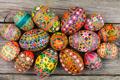 Easter eggs on the rusted board. Still life close up Stock Photo