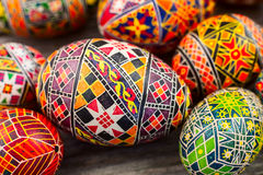 Easter eggs on the rusted board. Still life close up Stock Photos