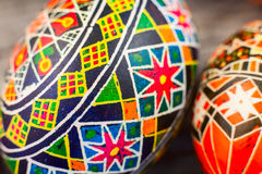 Easter eggs on the rusted board. Still life close up Stock Images