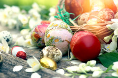 Easter eggs on rustic table Royalty Free Stock Images