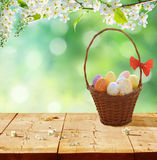 Easter eggs  on rustic wooden table Royalty Free Stock Images