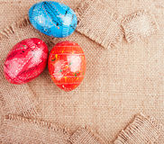 Easter Eggs on the Sackcloth Stock Image