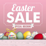 Easter Eggs Sale Frame Ribbon. Colored eggs with ribbon, white frame and text Easter Sale, Special Discount Royalty Free Stock Photography