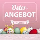Easter Eggs Sale Frame Ribbon. German text Frohe Ostern, Osterangebot translate Happy Easter, Easter Offer stock illustration